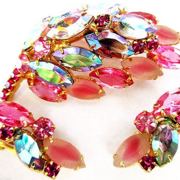 Juliana Pink Earring Brooch Set Delizza & Elster Blue AB Rhinestones Gold Metal Vintage
