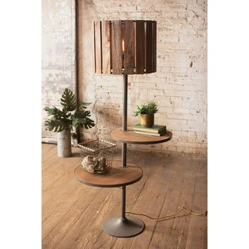 Wood Floor Lamp with Two Rotating Shelves