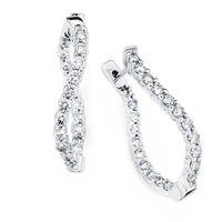 5/8ct tw Round Cut Diamond Hoop Earrings in 14K White Gold - Fashion - Diamond Earrings - Jewelry & Gifts