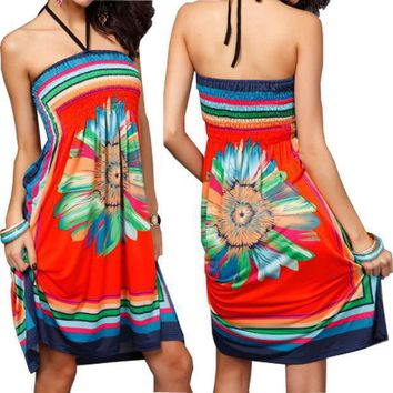 1 Pc Sexy Women Floral Vintage Summer Boho Dress Elastic Paisley Halter Tunic Dress  #29374