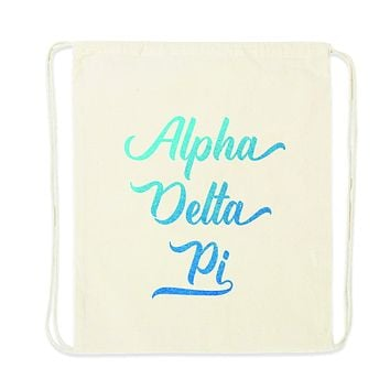 Sorority Name in Watercolor Stylized Script Drawstring Bag - All 26 NPC Organizations Available