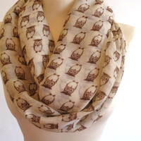 Print infinity scarf, circle scarf, spring scarf, owl scarf, print scarf women, (Color: Beige) = 1958012100