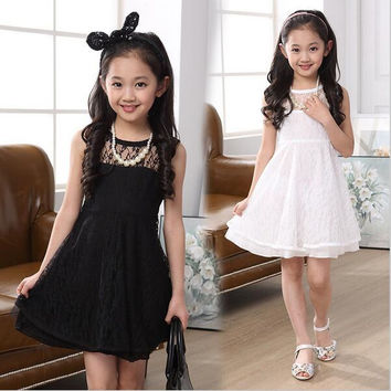 Summer Sleeveless Lace Dress for Kids
