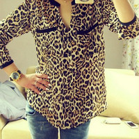 Leopard Print Double Pocket Long Sleeve Shirt