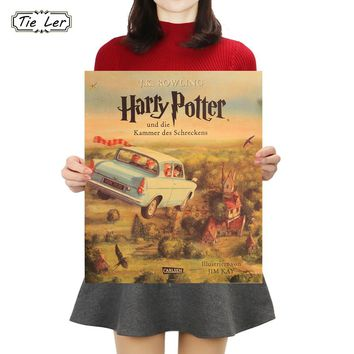 TIE LER Colour Flying Car Poster Harry Potter Retro Poster Classic Movie Wall Stickers Bar Cafe Kids Room Decoration