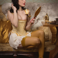 On stock corset white and mustard yellow lace bridal stays