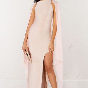 High Neck Bandage Maxi Dress in Pink and Black