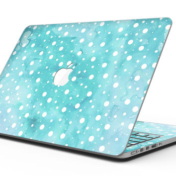 Light Blue and White Watercolor Polka Dots - MacBook Pro with Retina Display Full-Coverage Skin Kit