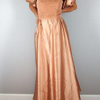 Vintage Champagne/Nude Colored Princess Dress, 1980s, Size Medium