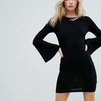 ASOS PETITE Mini Bodycon Dress with Fluted Sleeves at asos.com
