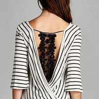 Striped V-Neck Wrap Cut-out Crochet Lace Detail Top