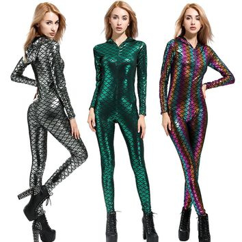 New Fish Dragon Scales Women Faux Leather Jumpsuit Holographic Metallic Catsuit bodysuit Sexy Jumpsuit Mermaid Suits