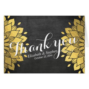 Black & Gold Chalkboard Floral Wedding Thank You Card