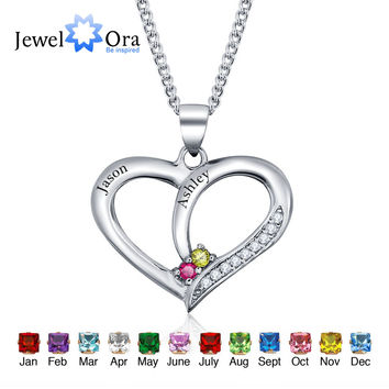Personalized Birthstone Heart 925 Sterling Silver Necklace