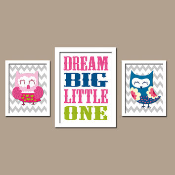 Colorful Bold Owl Theme Dream Big Little One Quote Chevron Pattern Set of 3 Trio Prints Decor WALL ART Boy Girl Baby Bedroom