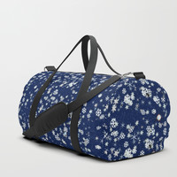 Snowflakes in space Duffle Bag by anipani