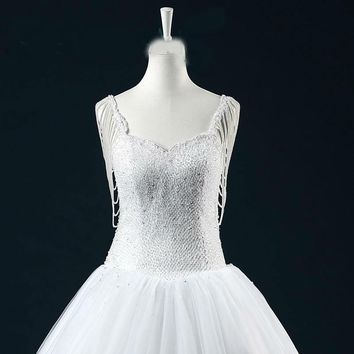 Ball Gown Beaded Lace Appliques Edge Wedding Dress with Pearls Beading Lace-up Back  Ball Gown