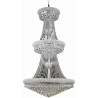 "Primo 36"" Diam Chandelier, Chrome Finish, Clear Crystal, Elegant Cut"