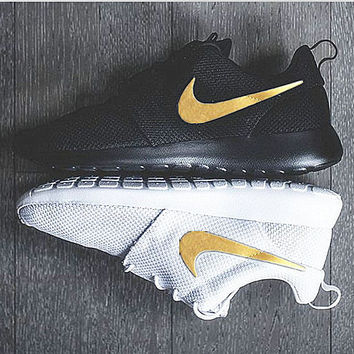 """NIKE"" Trending Fashion Casual Sports Shoes Black golden hook"