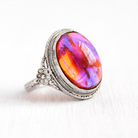 Dragon's Breath Ring - Vintage Sterling Silver Simulated Jelly Opal - Size 4 3/4 Art Deco 1930s Pink Orange Glass Cabochon Flower Jewelry