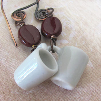 Coffee jewelry ADDICTION coffee earrings unique coffee mug earrings unusual coffee cup earrings coffee bean earrings coffee lover gift