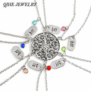 QIHE JEWELRY 6pcs/set Pizza Necklace With BFF Charm Colorful Rhinestone Best Friends Forever Food Jewelry Gift For Her