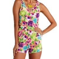 Peach Combo Floral Scalloped Open Back Romper by Charlotte Russe