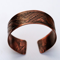 Men's unisex Dark Copper Wrist Cuff, Abstract Bracelet, Personalized Hidden Message, Textured, Oxidized Finish