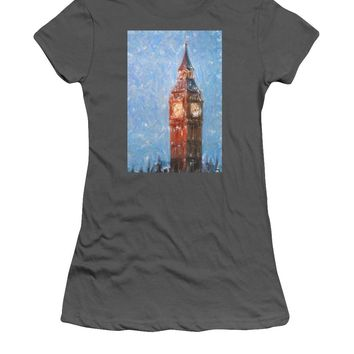 Pastel Painting Of Big Ben Tower In London - Women's T-Shirt (Athletic Fit)