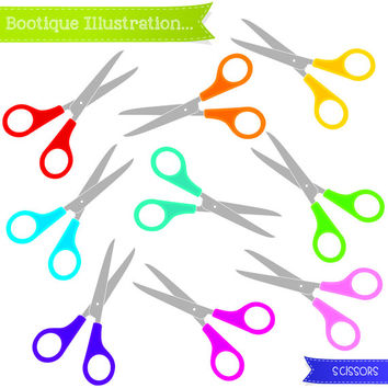 Scissors Clipart. Digital Scissors Clipart in Various Colours of the Rainbow. Personal and Commercial* Use. Png, Jpeg, Eps included