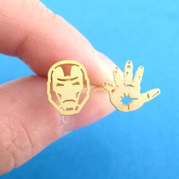 Iron Man Mask and Glove Shaped Stud Earrings in Gold | Super Hero Jewelry