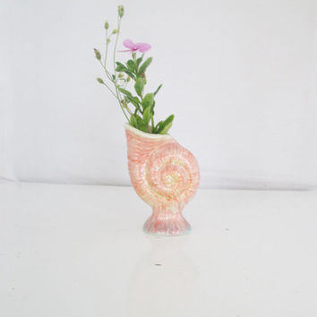 Vintage Shell Vase Seashell Vase Nautical Flower Vase Shell Shaped Vase Bud Vase Mid Century Vase Boho Cottage  Beach Coastal Living