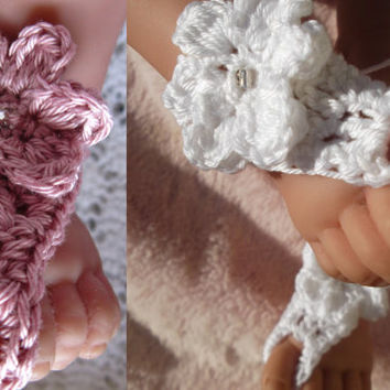 2 Pairs Baby Girls Infant  Bare Foot Sandals/shoes Christening, Naming Day, Holiday. Hand Crocheted in Cotton. 0-12 months.