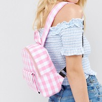 Skinnydip Pink Gingham Mini Backpack at asos.com