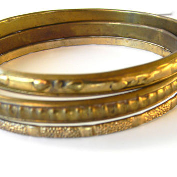 Vintage Bracelets, hammered metal, circa 1970, gold tone - set of three