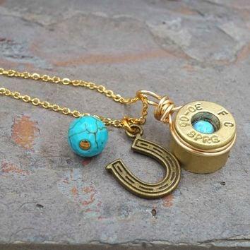 Turquoise Gemstone and Blue Opal 9mm Brass Bullet Necklace