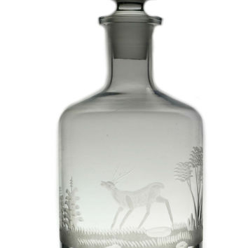 Stag Engraved Whisky or Wine Barrel Decanter Vintage 1970s-80s