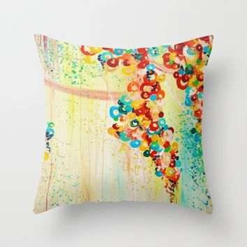 SUMMER IN BLOOM Floral Abstract Fine Art Decorative Pillow Cover, 18 x 18 Throw Cushion Rainbow Floral Home Decor