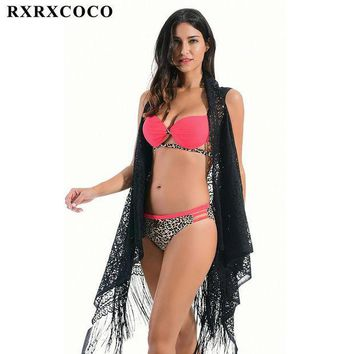 MDIG57D RXRXCOCO Brand 2017 New Sexy Hollow Cut Women Swimwear Set Lace Beach Cover Up Swimsuit Bathing Suit Beachwear Swim Beach Tunic