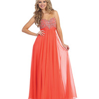 Coral Strapless Beaded Empire Waist Chiffon Gown 2015 Prom Dresses
