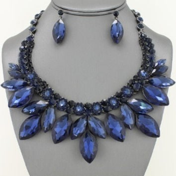 Marquis London Blue Crystal Collar Necklace & Earring Set