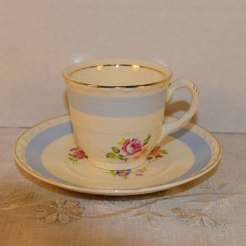 Crooksville China Co Cup and Saucer Vintage Blue Band Rose Floral Design Gold Trim Cup & Saucer Set Cottage Chic Shabby Chic Decor