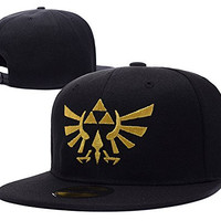 YUDUODUO The Legend of Zelda Logo Adjustable Snapback Embroidery Hats Caps - Black