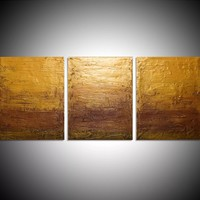 """ARTFINDER: triptych 3 panel wall art colorful images """"Gold Intervention"""" 3 panel canvas wall abstract canvas pop abstraction 48 x 20 """" other sizes available by Stuart Wright - """"Gold Intervention""""  3 piece canvas art On 3..."""