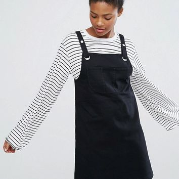 Monki Buckle Overall Dress at asos.com