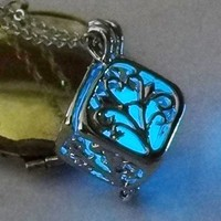 Atomic Blue Glow In The Dark Boxed Tree Necklace
