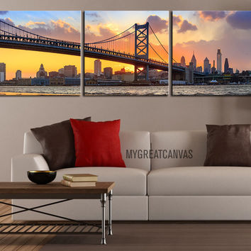 Large Wall Art Canvas Print Ben Franklin Bridge and Philadelphia Skyline at Sunset + Philadelphia Canvas Art Printing