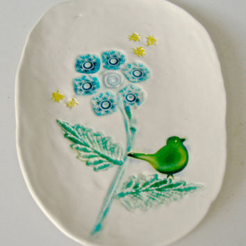 Decorative Small Plate, flower, bird in aqua and emerald, spoon rest, tapas plate, garden scene