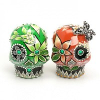 Skull Wedding Cake Toppers Coral and Green Sugar Skulls Ceramic A00155 | sweetiecaketopper - Wedding on ArtFire