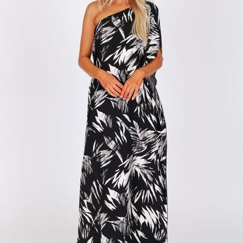 One Shoulder Ruffle Print Maxi Black
